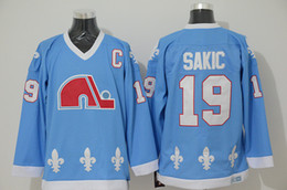 Wholesale Quebec Nordiques - Mens Quebec Nordiques Throwback 19 Joe Sakic Hockey Jerseys Baby Blue Vintage CCM Colorado Avalanche Joe Sakic Stitched Jersey S-XXXL