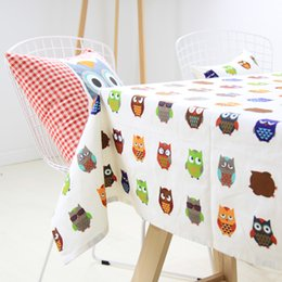Wholesale Cotton Table Covers - Cartoon Owl Table Cloth Lovely Color Cotton Party Table Cover Overlays Christmas Festive Decoration HOT Sale SD725