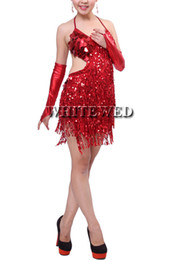 Wholesale Dance Costumes Sale - China sequin fringe backless tassel latin salsa tango ballroom dance night dress costumes clothes for competition with fringe for sale cheap