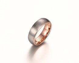 Wholesale Rose Gold Tungsten - Wedding Ring 6mm comfort fit outer brushed inner rose gold plated Tungsten carbide wedding Ring for Men and woman Hot sale