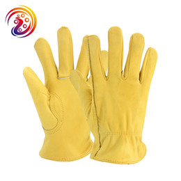 Wholesale protective leather gloves - OLSON DEEPAK Cowhide Work Goves Gardening Protective Cow Leather Work Glove HY008