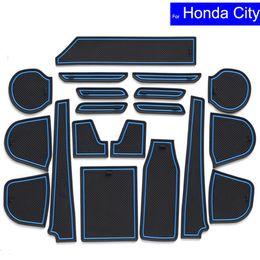 Wholesale Honda Carpet Mats - Non-slip Car Door Slot Mats Gate Carpets Position Cup Holder Pads For Honda City 2009 2010 2011 2012~2015 2016 Door Groove Mat
