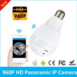 Wholesale wireless cloud camera - 360 Degree 1.3MP Fisheye Panoramic WiFi Wireless P2P Cloud Security Network IP Camera LED Bulb Light