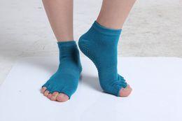 Wholesale Yoga Toe Socks Black - Cotton Blends Toeless Exercise Yoga Half Toe Socks 7 Colors Available 6pcs lot Free Shipping