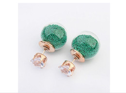 Wholesale Glass Imitation Pearl Beads Wholesale - 2016 New Fashion Brand Jewery Stores Elegant Double Imitation Pearl Stud Earrings For Women Girls Glass Beads Ball Earrings Mix Colors