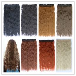 """Las extensiones de clip resistentes al calor online-Multi-color 120g 24 """"clip sintético rizado profundo en extensiones de cabello a prueba de calor Hairpiece extensión del pelo largo"""