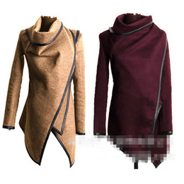 Wholesale Europe Winter Coat - Fashion Coats For Women High Grade Brand 2016 Winter Europe and America Elegant Slimming High Neck Long Sleeve Warm Wool Blends Lady Outwear