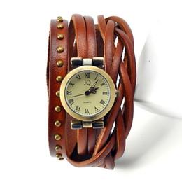 Wholesale Wrapped Quartz - 2015 Roma Number Vintage Women Leather Watches Men Ladies Dress Watches Female Rivet Wrap Quartz Braided Bracelet Watch W1355