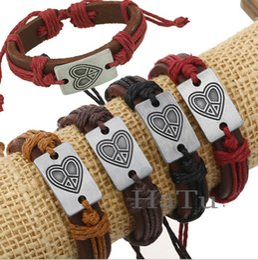 Wholesale Peace American Flag - lovely heart peace jewelry Bracelets handmade Braided Leather Handmade Combination Pattern Colorful Charm mens women Bracelets
