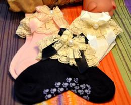 Wholesale pearl socks - Japan Massage Lace Kids Socks Children Girls Bow Pearl Socks 2014 Hot Selling Child Girls Forest Style Socks Baby Socks 20pairs lot L0541