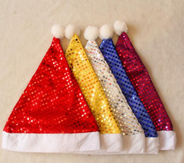 Wholesale Hat Decoration C - Wholesales! Hot New Christmas Hats Plush Children Adult Party Sequined Santa Claus Christmas Decorations 4 Color Free Shipping