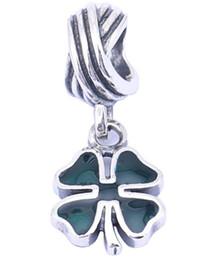 Pandora ale 925 болтается онлайн-100% стерлингового серебра подвески 925 Эль болтаться зеленый клевер подвески для Pandora браслеты DIY Европейский бисер аксессуары