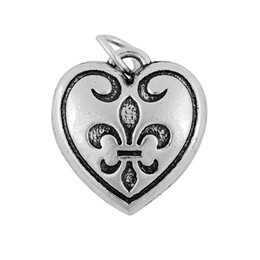 Wholesale Antique Fleur Lis - Free shipping New Fashion Easy to diy 5pcs 17*18.6 mm antique silver plated fleur-de-lis heart charms with jump ring 2 sided jewelry making