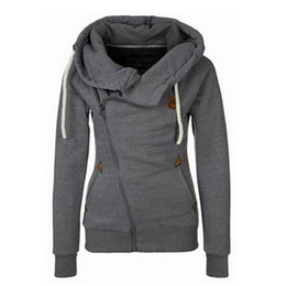 Wholesale Women Fleece Hooded Long Cardigan - New Arrival Thickening Fleeces Sweatshirts For Women Hooded Hoodies Candy Colors Solid Sweatshirt Long Sleeve Side Zip Up 8949