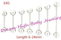 Wholesale Tongue Ear Stud - Tongue bar Straight Eyebrow Ring Ear Stud 14G Nipple Ring 316L Stainless Steel Body piercing jewelry 6MM 24MM 4MM 5MM BALL Choose Size