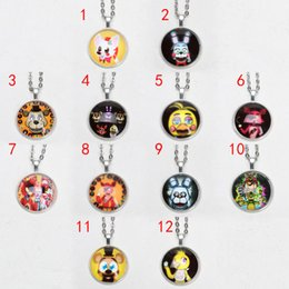 Wholesale Antique Fox Pendant - 5pcs lot FNAF Five Nights at Freddy's necklace Fox Antique glass Pendant Chain gift For Friends silver gold neckalce