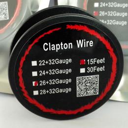 Atomizador eléctrico online-Alambre Clapton de 15 pies para cigarrillos eléctricos Gran Vapor Bajo ohmio Bobina atomizadora 22 + 32 24 + 32 26 + 32 AWG Calefacción rápida libre de DHL FJ653