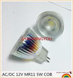 Wholesale Led Gu4 - YON 1PCS New Arrival MR11 COB Led Spotlight Glass Body GU4 Lamp Light AC DC 12V MR11 5W LED Bulb Warm White   white