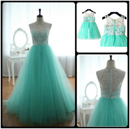 Wholesale Aqua Blue Color - Turquoise Aqua Blue Tulle Ivory Lace Flower Girl Dress Children Toddler Dress for Wedding Junior Bridesmaid Dress Custom Made Mother Dresses