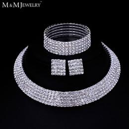 2019 diseños de oro rubí Al por mayor-claro cristal austriaco plata plateó la joyería establece collar redondo pendientes pulsera para mujer accesorio de la boda TL294 + SL090