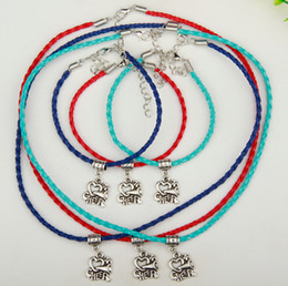 Wholesale Olive Pendant - 2017 Hot 10Set lot Ancient Silver I Love Cheer Charm Pendant Multi Leather Rope Necklace Bracelet Sets Women Jewelry DIY Holiday Gifts S988