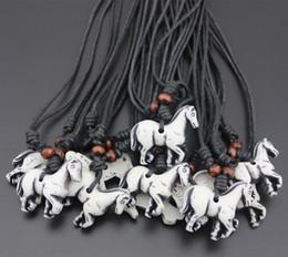 Прохладный племя стиль имитация кости резные лошадь Зодиака ожерелье мужчины женщины ювелирные изделия дети Амулет подарок mn469 от