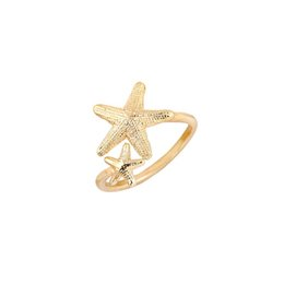 Wholesale Brass Nautical - 10pcs New Fashion Ring Open Twinkle Stretch Star Ring Nautical Beach Starfish Ring for Women Birthday Gifts jz165