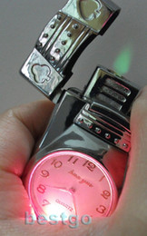 Wholesale Gas Lighter Watch - Wholesale-Free Shipping Silver Metal butane lighter with Quartz Watch LED