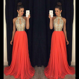 Wholesale Long Chiffon Ball Gown - Prom Dresses 2016 High Neck Evening Dresses Cheap Bridesmaid Dresses Orange Long Dresses Evening Wear Wedding Evening Gowns Sexy Ball Gowns