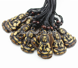 Wholesale wholesale goddess pendants - Hot Wholesale lot 12pcs Yak Bone Powder Carving Buddhist Goddess of Mercy Guan Yin Amulet Pendant Necklace Gift MN336