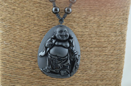 Wholesale Carved Stone Pendant Beads - Buddhist Carved Black Obsidian Buddha Stone Pendant Sweater Necklace Black Onyx Agate Round beads on knot Chains Shamballa Style knot