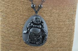 Wholesale Buddhist Bead Necklace Pendant - Buddhist Carved Black Obsidian Buddha Stone Pendant Sweater Necklace Black Onyx Agate Round beads on knot Chains Shamballa Style knot