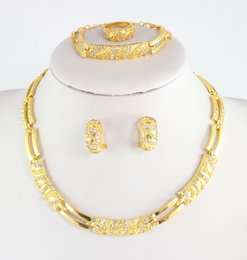 Wholesale Beads Set Earrings - African Beads Wedding Dress Accessories Costume Women Party Gold Plated Crystal indian Necklace Bangle Earring Ring Jewelry Sets