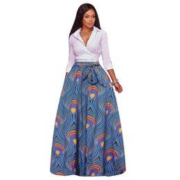 Wholesale Boho Print Maxi Skirt - 2017 Autumn&Winter African Women Boho Dashiki Dresses Cocktail Clubwear high waist Pleated Skirt National characteristic Print Maxi Dress