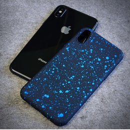 Wholesale Iphone Case Bling Starry - For iPhone X Case 3D Ultra Thin Bling Fluorescence Stars Starry Sky Flowing Frosted Visual Effect Hard PC Cover For iPhone X 8 Plus 7 6 6s