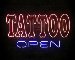 "Wholesale Tattoo Signs Led - Hot Tattoo Open Parlor Neon Sign Shop Store Custom Handcrafted Real Glass Tube Lighting Advertisement Display LED Sign 16""X12"""