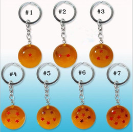 Wholesale Dragon Ball Beads - Dragon Ball Key ring cartoon keychain Pendant for children Christmas gift 7 styles 100 PCS YYA807