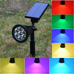 Wholesale Led Wall Mounted Spotlights - Solar Powered LED RGB+W Garden Lawn lamp outdoor Waterproof spotlight Automatic color changing Wall mounted Light for yard decor