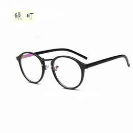 76dc9edb57f79 Al por mayor-Mujeres Vintage Glasses Frame Espejo llano Big Round Metal  Optical Frame Eyeglass Clear Lens oculos feminino de grau