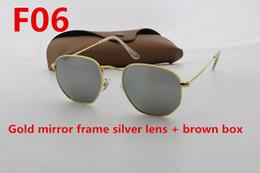 Wholesale Hexagon Mirrors - Retro Designer Sunglasses Designer Men's & Ladies Classic Hexagon 51mm Sunglasses uv400 UV Glass Lenses Sunglasses & Cases