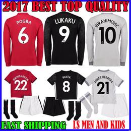 Wholesale Green Spandex Shirt - 17 18 LUKAKU soccer jersey POGBA Martial man United KIDS KIT IBRAHIMOVIC man utd 2017 RASHFORD MKHITARYAN HOM AWAY third LS football shirt