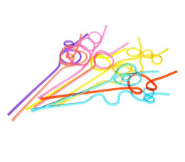 Wholesale Colourful Art - 100pcs Crazy Curly Loop Plastic Drinking Straws Art Healthy Colourful Birthday Wedding Party Decorations Fun Novelty