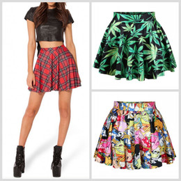 Wholesale Sexy Plaid - Hot Sexy Women Mini Skirts Green Leaves Adventure Time Red Plaids Slim Dress Skirt for women DQ078