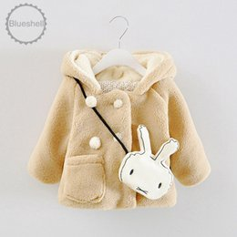 Wholesale Winter Furry Jacket - Wholesale-2015 new arrival Baby girls cartoon woolen coat toddler Girl Winter coat Cute hooded furry thicker warm coat for 0-24mo