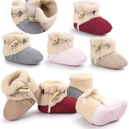 Wholesale Wool Fabric Wholesalers - 2017 Baby shoes Warm cotton boots Winter Lamb wool Infants Toddler Soft shoe first walker 0-18months