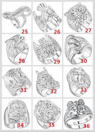 argento misto miscelato Sconti 2018 Fashion mix 12 style 12pcs placcato 925 Sterling Silver Animal Ring Eagle Lion Owl Loong lupo serpente Può essere regolato Anello di apertura