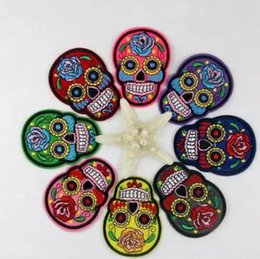 Wholesale Patches Flower Clothing - 10pcs skull patch Iron On Patches Clothes DIY Flowered Skull Embroidered Patches For Clothing Fabric Badges Sewing Patches