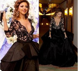 Wholesale Low Cut Chiffon Evening Dress - 2016 Sexy Balck Lace Formal Evening Dresses Myriam Fares 3 4 Long Sleeves Low Cut Arabic Prom Party Gowns Empire Celebrity Dresses