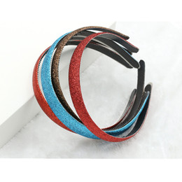 Wholesale Hair Fabric - 30pcs lot 10 Colors Good Quality Girls Glitter Headband 1.2cm Glitter Fabric Covered Plastic Non-slip Hair Band Women Hair Hoop Accessory