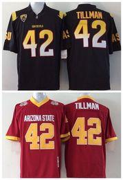 Wholesale Arizona States - Factory Outlet- Wholesale Arizona State Sun Devils 42 Pat Tillman Red Black College Football Jersey